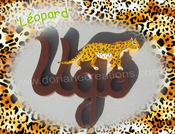 Prenoms en bois leopard 3l 1