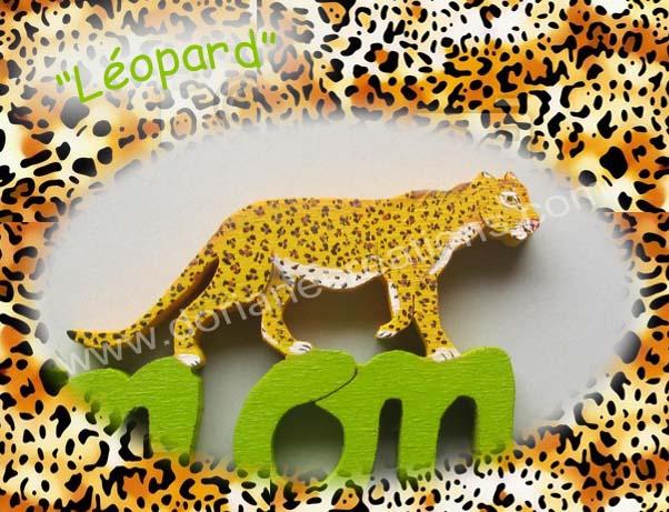 Prenoms en bois leopard 3l
