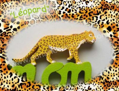07 lettres- prénom en bois léopard