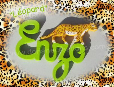 04 lettres- prénom en bois léopard
